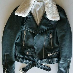 Zara green faux leather jacket